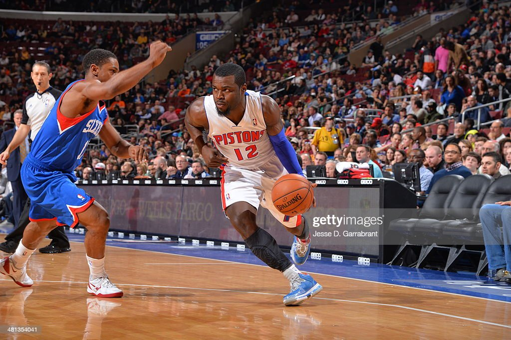 Will Bynum #12 of the Detroit Pistons handles the ball against the Philadelphia 76ers at the Wells Fargo Center on March 29, 2014 in Philadelphia, Pennsylvania.