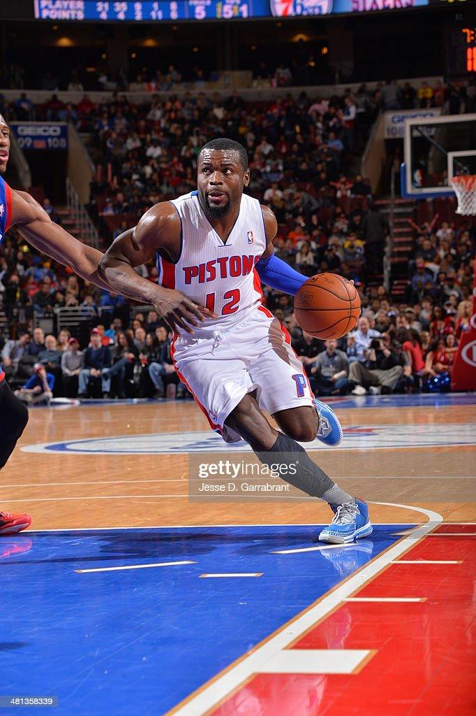 Will Bynum #12 of the Detroit Pistons handles the ball against the Philadelphia 76ers at the Wells Fargo Center on March 29, 2014 in Philadelphia, Pennsylvania.