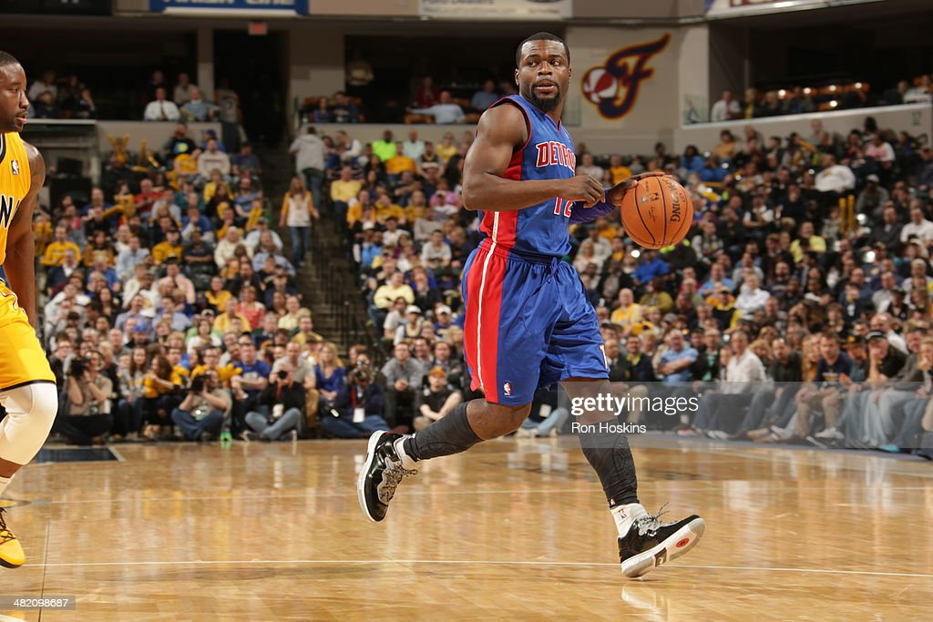 Will Bynum #12 of the Detroit Pistons handles the ball against the Indiana Pacers at Bankers Life Fieldhouse on April 2, 2014 in Indianapolis, Indiana.