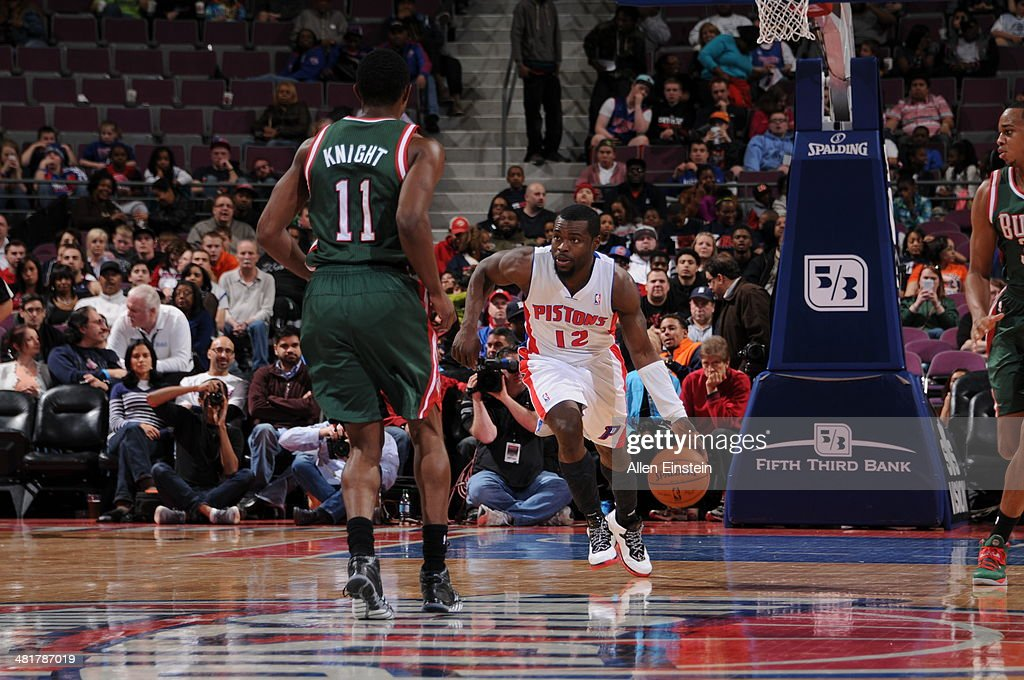 Will Bynum #12 of the Detroit Pistons handles the ball against the Milwaukee Bucks on March 31, 2014 at The Palace of Auburn Hills in Auburn Hills, Michigan.