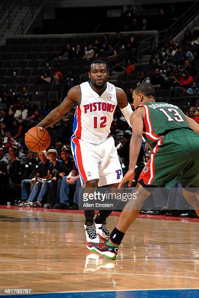 Will Bynum of the Detroit Pistons handles the ball against the Milwaukee Bucks on March 31 2014 at The Palace of Auburn Hills in Auburn Hills...