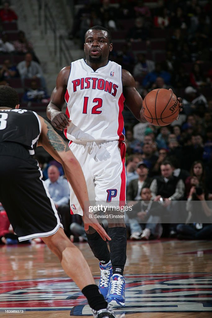 Will Bynum #12 of the Detroit Pistons handles the ball against the Brooklyn Nets on March 18, 2013 at The Palace of Auburn Hills in Auburn Hills, Michigan.