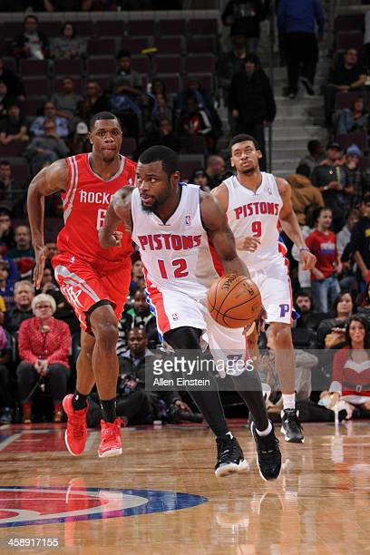 Will Bynum of the Detroit Pistons handles the ball against the Houston Rockets on December 21 2013 at The Palace of Auburn Hills in Auburn Hills...