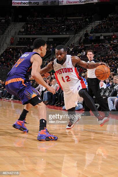 Will Bynum of the Detroit Pistons handles the ball against the Phoenix Suns on January 11 2014 at The Palace of Auburn Hills in Auburn Hills Michigan...
