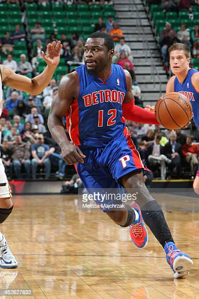 Will Bynum of the Detroit Pistons handles the ball against the Utah Jazz at EnergySolutions Arena on March 24 2014 in Salt Lake City Utah NOTE TO...