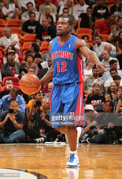 Will Bynum of the Detroit Pistons handles the ball during NBA preseason action against the Miami Heat against the at American Airlines Arena on...