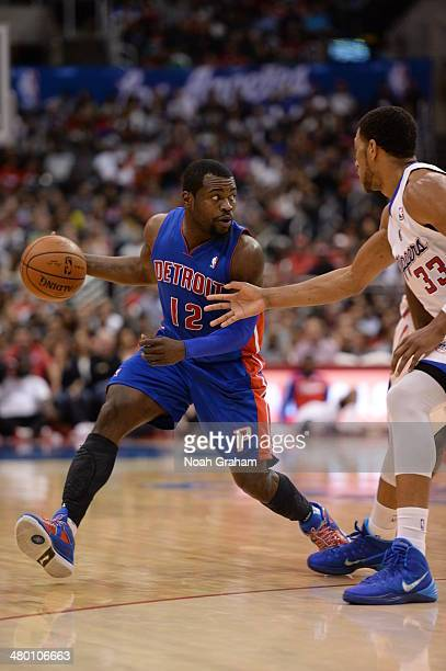 Will Bynum of the Detroit Pistons handles the basketball against the Los Angeles Clippers at STAPLES Center on March 22 2014 in Los Angeles...