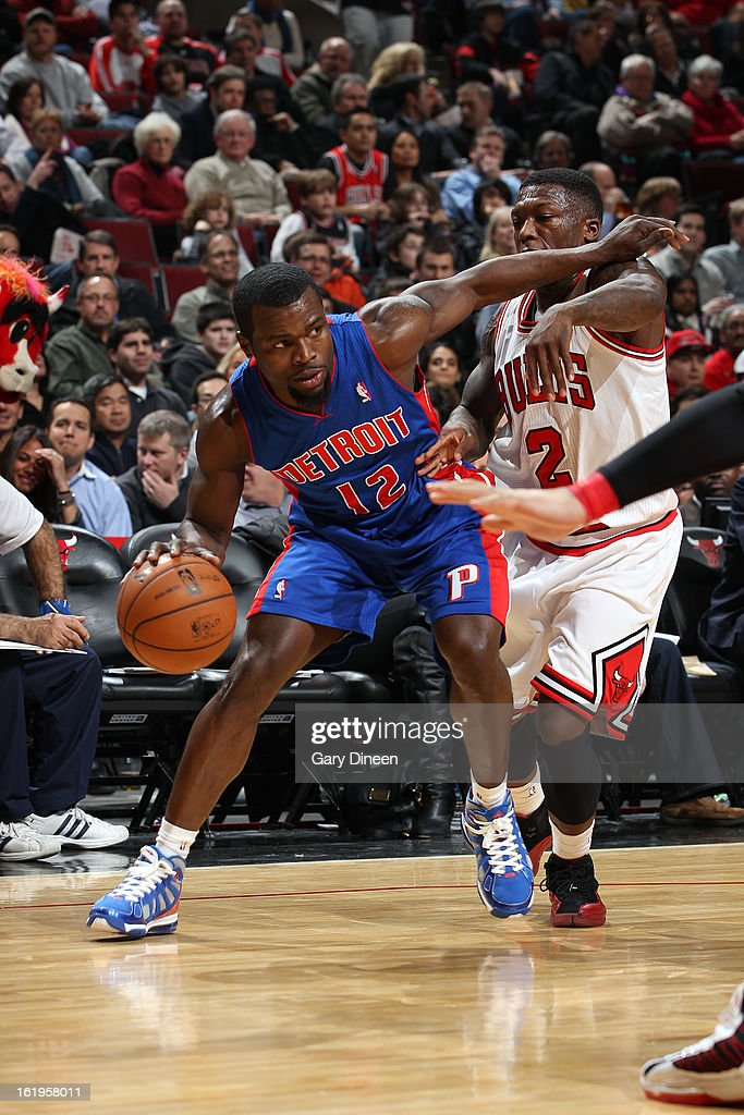 <a gi-track='captionPersonalityLinkClicked' href=/galleries/search?phrase=Will+Bynum&family=editorial&specificpeople=212891 ng-click='$event.stopPropagation()'>Will Bynum</a> #12 of the Detroit Pistons looks to drive to the basket against the Chicago Bulls on January 23, 2012 at the United Center in Chicago, Illinois.
