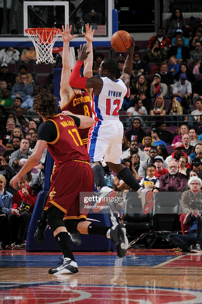 Will Bynum #12 of the Detroit Pistons passes the ball against the Cleveland Cavaliers on March 26, 2014 at The Palace of Auburn Hills in Auburn Hills, Michigan.