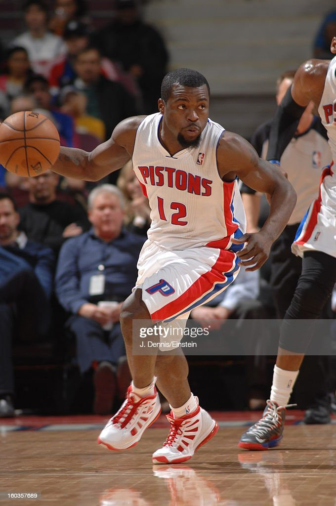 <a gi-track='captionPersonalityLinkClicked' href=/galleries/search?phrase=Will+Bynum&family=editorial&specificpeople=212891 ng-click='$event.stopPropagation()'>Will Bynum</a> #12 of the Detroit Pistons runs up the floor while dribbling the ball against the Milwaukee Bucks during the game on January 29, 2013 at The Palace of Auburn Hills in Auburn Hills, Michigan.