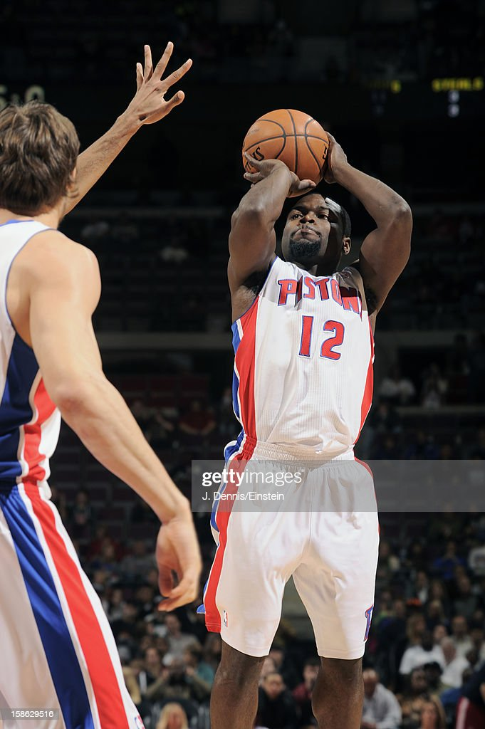 Will Bynum #12 of the Detroit Pistons shoots a close range shot against the Washington Wizards during the game on December 21, 2012 at The Palace of Auburn Hills in Auburn Hills, Michigan.