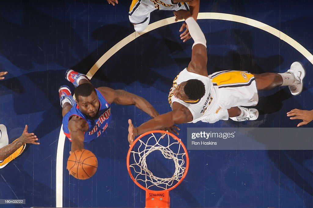 Will Bynum #12 of the Detroit Pistons shoots a layup against Ian Mahinmi #28 of the Indiana Pacers on January 30, 2013 at Bankers Life Fieldhouse in Indianapolis, Indiana.