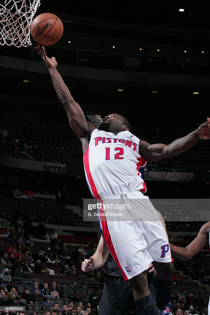 Will Bynum #12 of the Detroit Pistons shoots a layup against the Brooklyn Nets on March 18, 2013 at The Palace of Auburn Hills in Auburn Hills, Michigan.