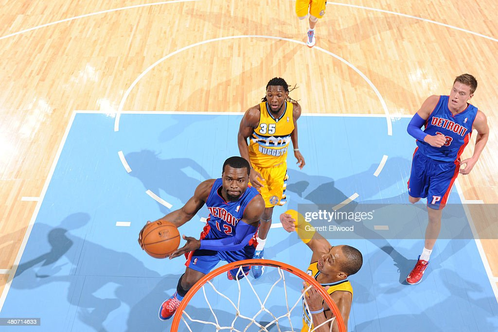 <a gi-track='captionPersonalityLinkClicked' href=/galleries/search?phrase=Will+Bynum&family=editorial&specificpeople=212891 ng-click='$event.stopPropagation()'>Will Bynum</a> #12 of the Detroit Pistons shoots against the Denver Nuggets on March 19, 2014 at the Pepsi Center in Denver, Colorado.