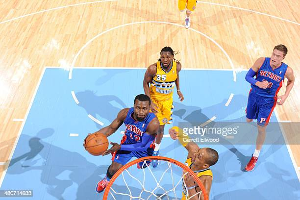 Will Bynum of the Detroit Pistons shoots against the Denver Nuggets on March 19 2014 at the Pepsi Center in Denver Colorado NOTE TO USER User...