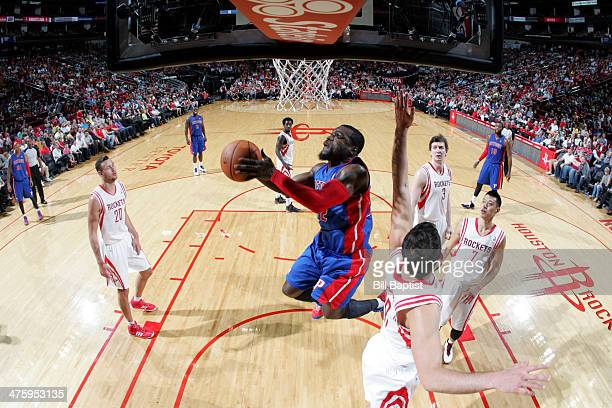 Will Bynum of the Detroit Pistons shoots against the Houston Rockets on March 1 2014 at the Toyota Center in Houston Texas NOTE TO USER User...