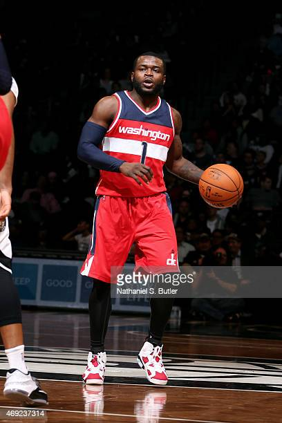 Will Bynum of the Washington Wizards handles the ball against the Brooklyn Nets on April 10 2015 at the Barclays Center in the Brooklyn borough of...