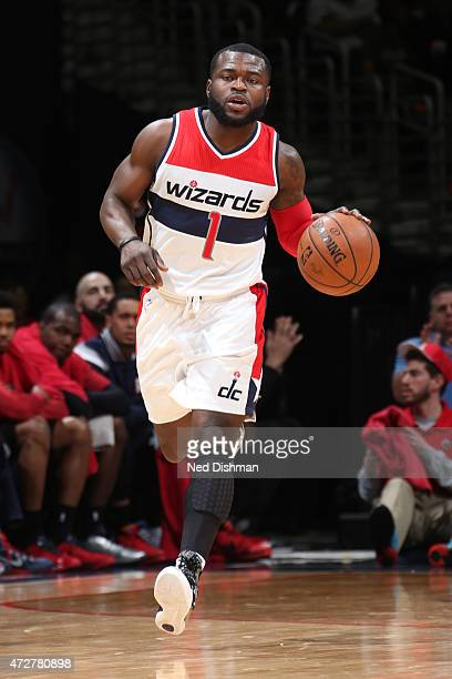 Will Bynum of the Washington Wizards handles the ball against the Atlanta Hawks in Game Three of the Eastern Conference Semifinals of the 2015 NBA...