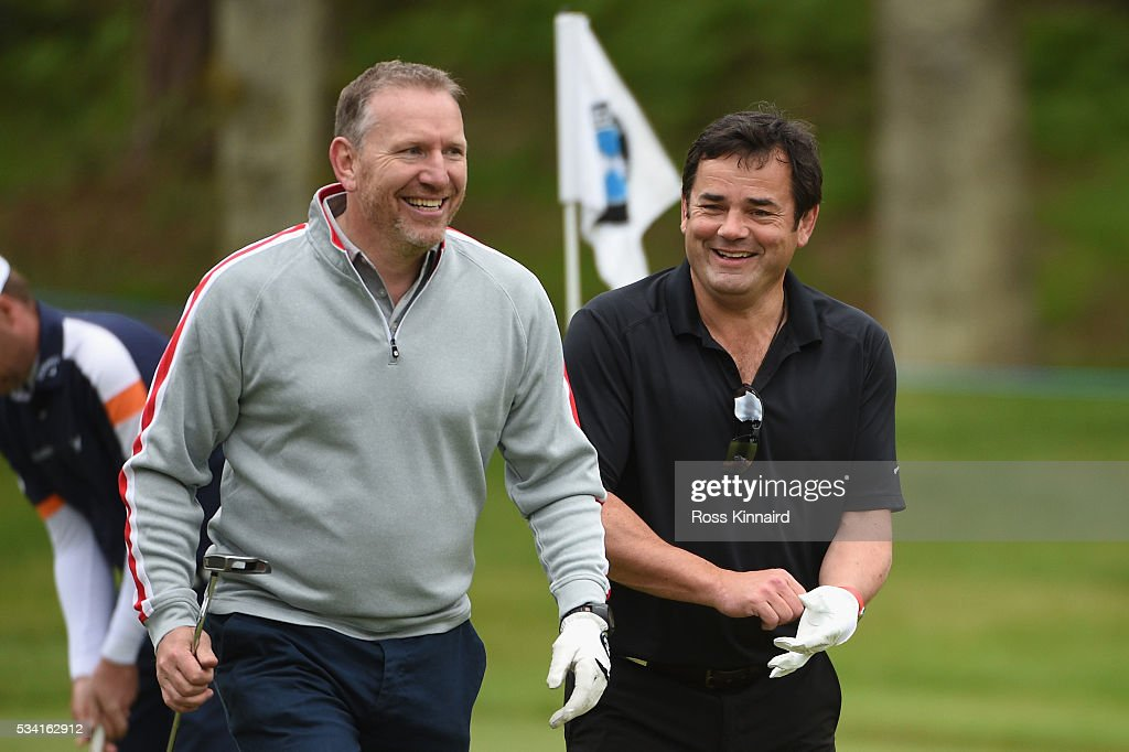 <a gi-track='captionPersonalityLinkClicked' href=/galleries/search?phrase=Will+Carling&family=editorial&specificpeople=67233 ng-click='$event.stopPropagation()'>Will Carling</a> and Andy Nicol during the Pro-Am prior to the BMW PGA Championship at Wentworth on May 25, 2016 in Virginia Water, England.