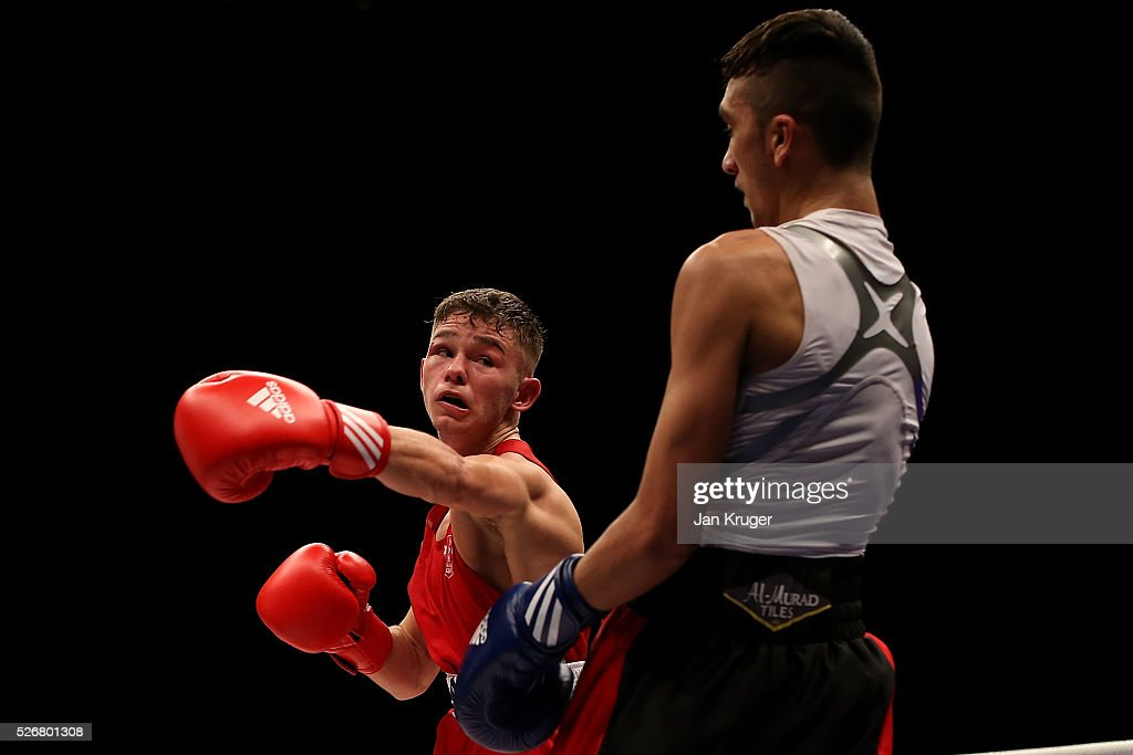 Will Cawley (red gloves) in action against Ismail Khan in their 52kg final bout during day three of the Boxing Elite National Championships at Echo Arena on May 01, 2016 in Liverpool, England.