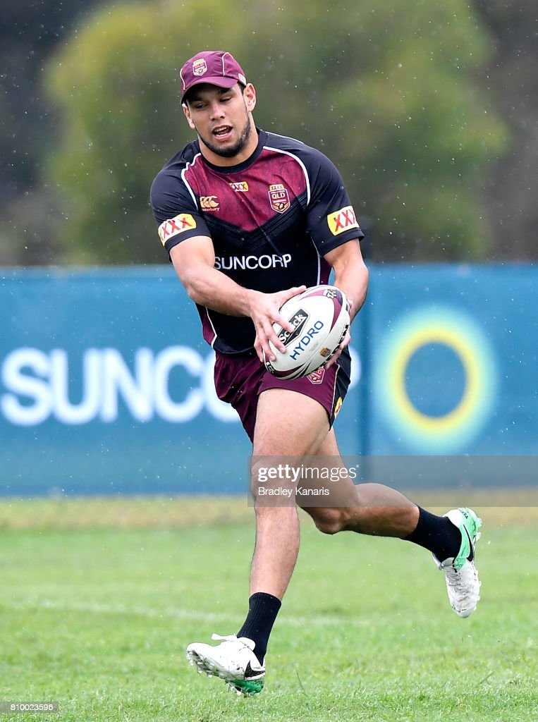 Will Chambers in action during a Queensland Maroons State of Origin training session at Sanctuary Cove on July 7, 2017 in Brisbane, Australia.