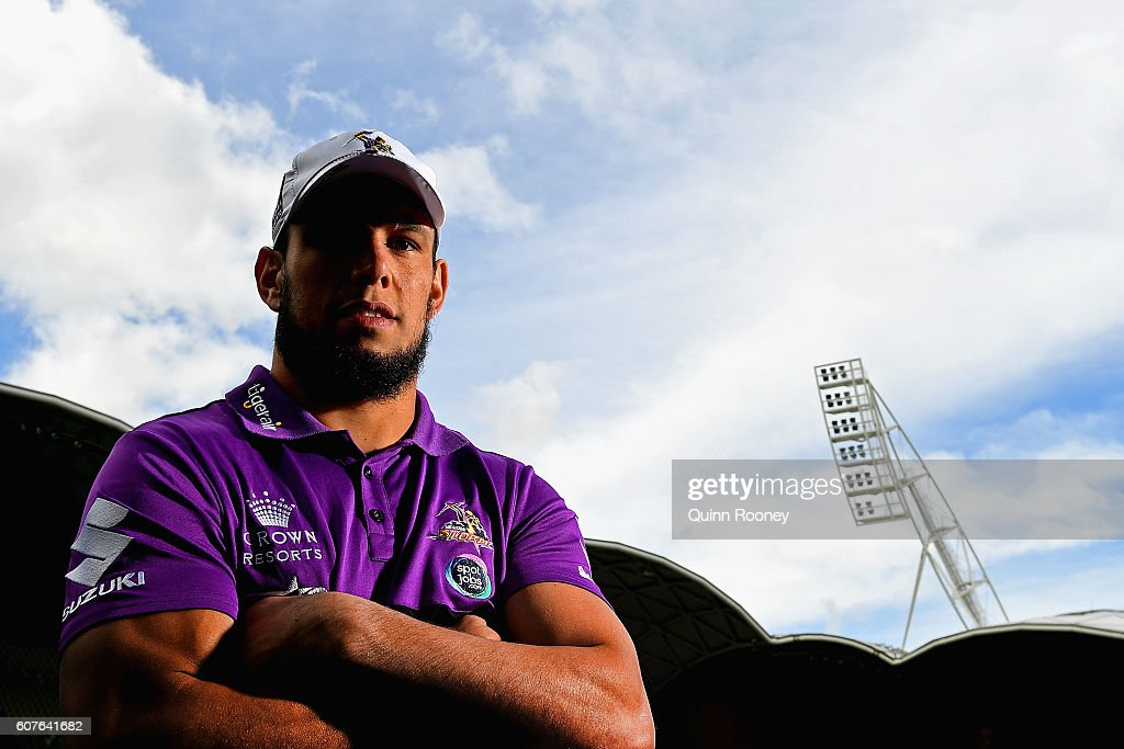Will Chambers of the Storm poses during a Melbourne Storm NRL Media Opportunity at AAMI Park on September 19, 2016 in Melbourne, Australia.