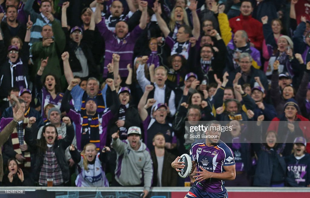 Will Chambers of the Storm scores a try during the NRL Preliminary Final match between the Melbourne Storm and the Manly Sea Eagles at AAMI Park on September 21, 2012 in Melbourne, Australia.