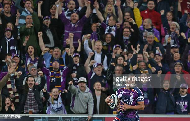 Will Chambers of the Storm scores a try during the NRL Preliminary Final match between the Melbourne Storm and the Manly Sea Eagles at AAMI Park on...