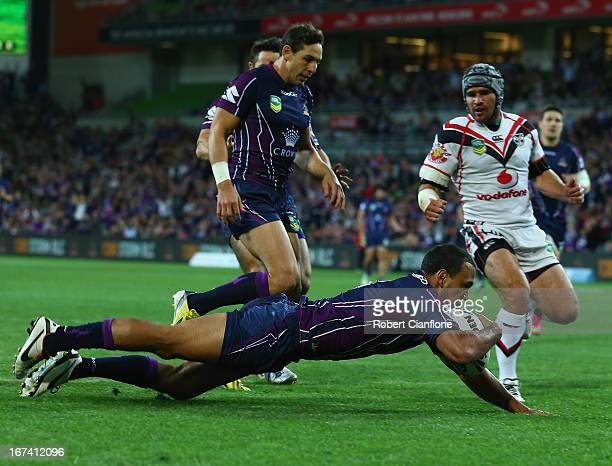 Will Chambers of the Storm scores a try during the round seven NRL match between the Melbourne Storm and the New Zealand Warriors at AAMI Park on...