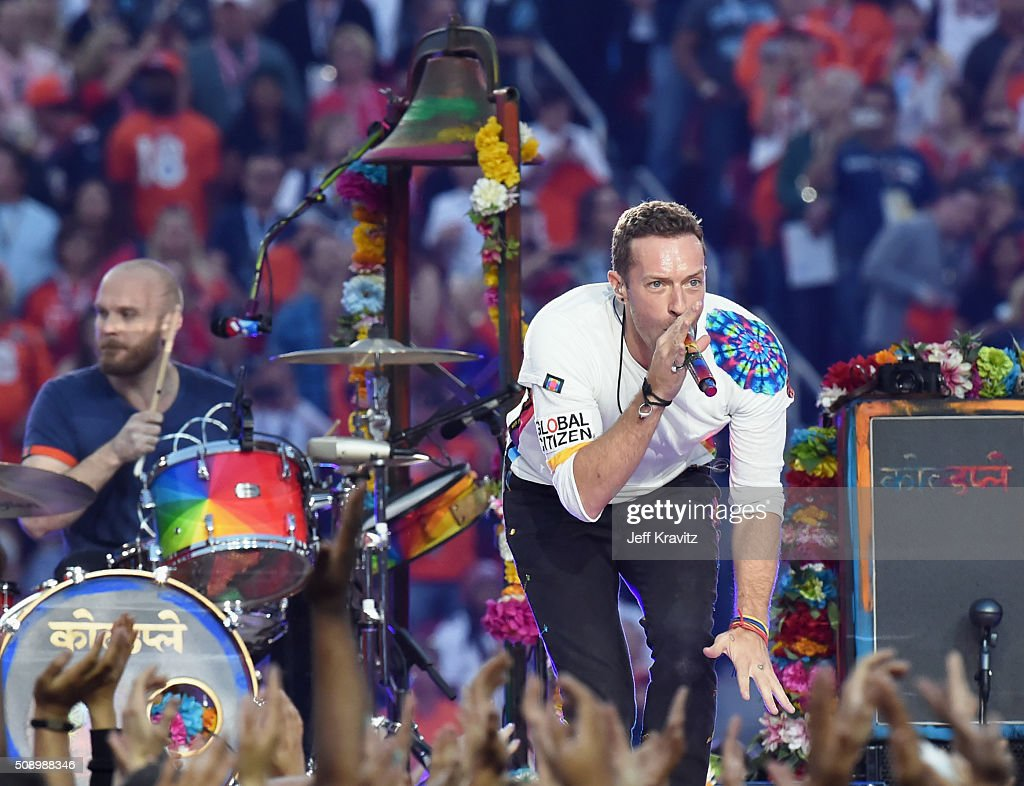 Will Champion (L) and Chris Martin of Coldplay perform onstage during the Pepsi Super Bowl 50 Halftime Show at Levi's Stadium on February 7, 2016 in Santa Clara, California.