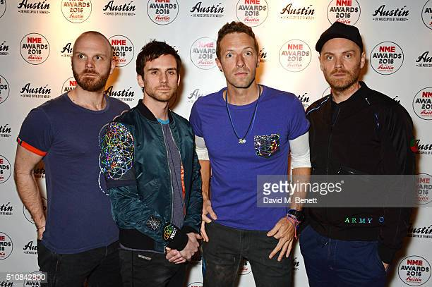 Will Champion Guy Berryman Chris Martin and Jonny Buckland of Coldplay attend the NME Awards with Austin Texas at the O2 Academy Brixton on February...