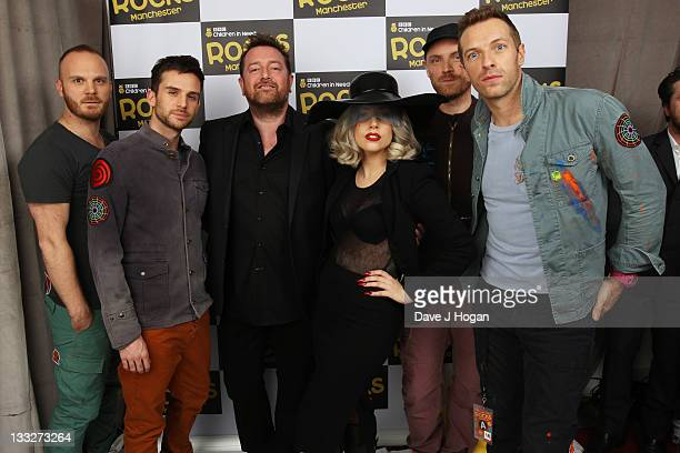Will Champion Guy Berryman Guy Garvey of Elbow Lady Gaga Jonny Buckland and Chris Martin of Coldplay pose backstage at Children In Need Rocks...