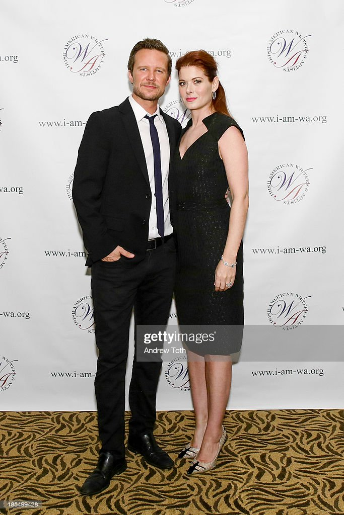 Will Chase (L) and actress <a gi-track='captionPersonalityLinkClicked' href=/galleries/search?phrase=Debra+Messing&family=editorial&specificpeople=202114 ng-click='$event.stopPropagation()'>Debra Messing</a> attend the 2013 Eugene O'Neill Lifetime Achievement Award gala at The Manhattan Club at Rosie O'Grady's on October 21, 2013 in New York City.