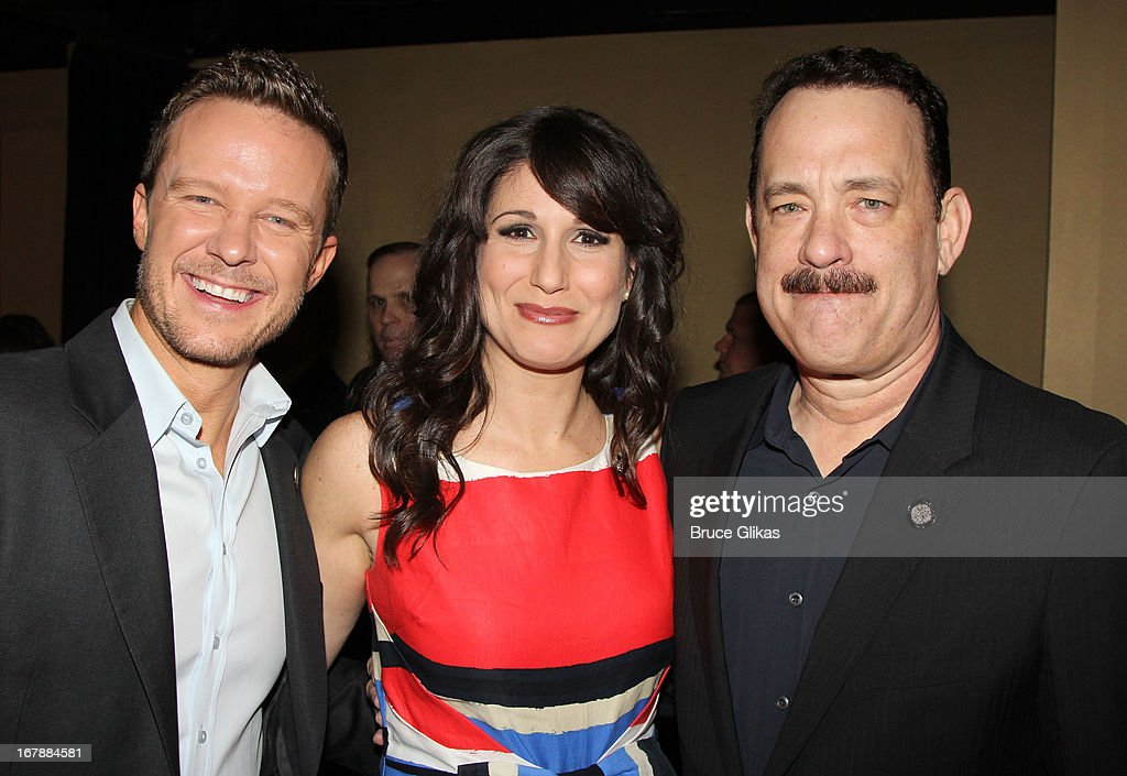 Will Chase, Stephanie J. Block and Tom Hanks attend the 2013 Tony Awards: The Meet The Nominees Press Junket at the Millenium Hilton on May 1, 2013 in New York City.