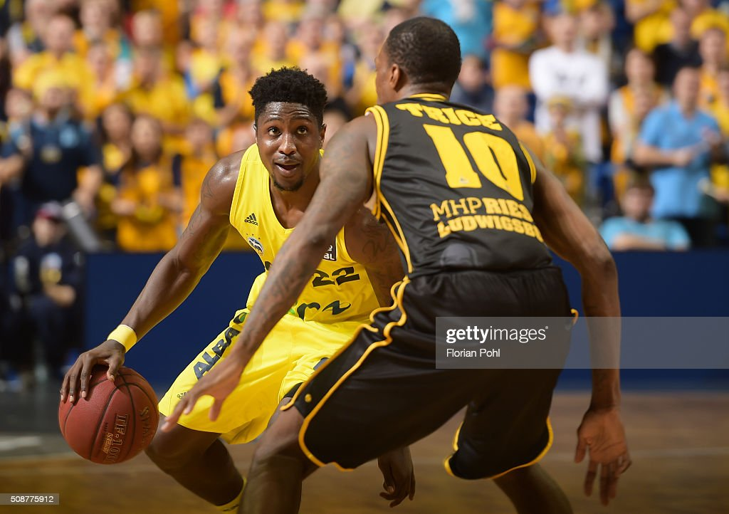 Will Cherry of ALBA Berlin and Rocky Trice of the MHP Riesen Ludwigsburg during the game between Alba Berlin and the MHP Riesen Ludwigsburg on february 6, 2016 in Berlin, Germany.