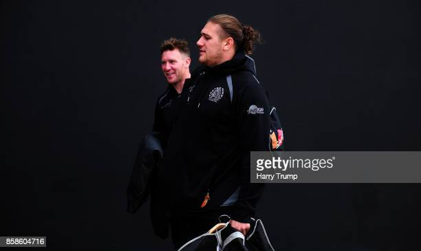 Will Chudley and Harry Williams of Exeter Chiefs arrives for the match during the Aviva Premiership match between Exeter Chiefs and Newcastle Falcons...