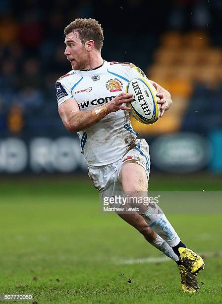 Will Chudley of Exeter Chiefs in action during the Aviva Premiership match between Worcester Warriors and Exeter Chiefs at Sixways Stadium on January...