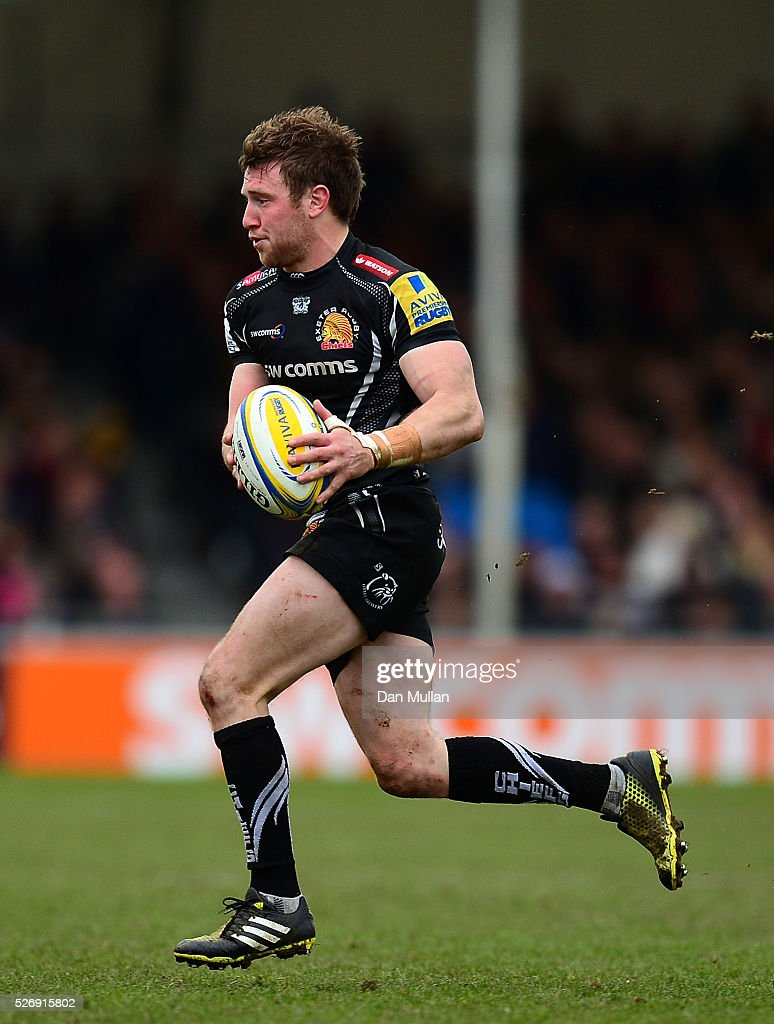 Will Chudley of Exeter Chiefs looks for a pass during the Aviva Premiership match between Exeter Chiefs and Wasps at Sandy Park on May 01, 2016 in Exeter, England.