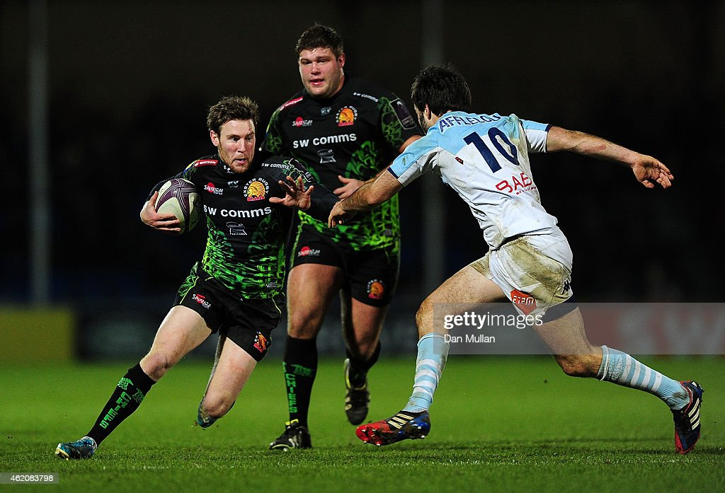 Will Chudley of Exeter Chiefs takes on Clement Otazo of Bayonne during the European Rugby Challenge Cup match between Exeter Chiefs and Bayonne at...