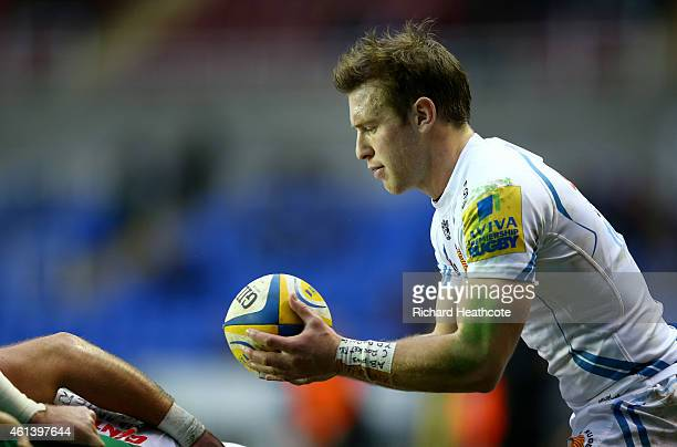 Will Chudley of Exeter prepares to put the ball into a scrum during the Aviva Premiership match between London Irish and Exeter Chiefs at Madejski...