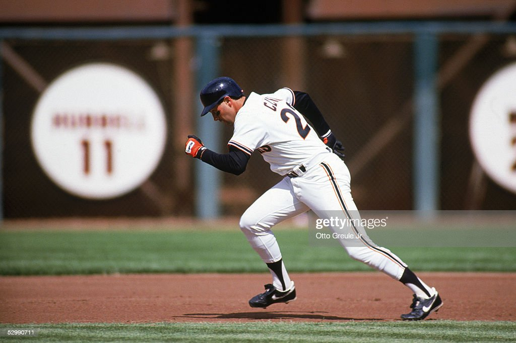 Will Clark of the San Francisco Giants runs the bases during a game in the 1989 season at Candlestick Park in San Francisco California