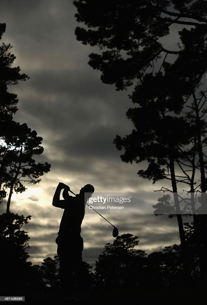 Will Claxton hits a tee shot on the 18th hole during the first round of the AT&T Pebble Beach National Pro-Am at Spyglass Hill Golf Course on February 6, 2014 in Pebble Beach, California.