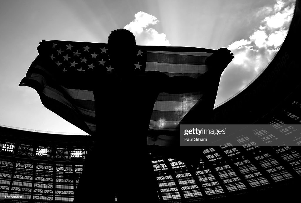 Will Claye of the United States celebrates winning bronze in the Men's Triple Jump Final during Day Nine of the 14th IAAF World Athletics Championships Moscow 2013 at Luzhniki Stadium on August 18, 2013 in Moscow, Russia.