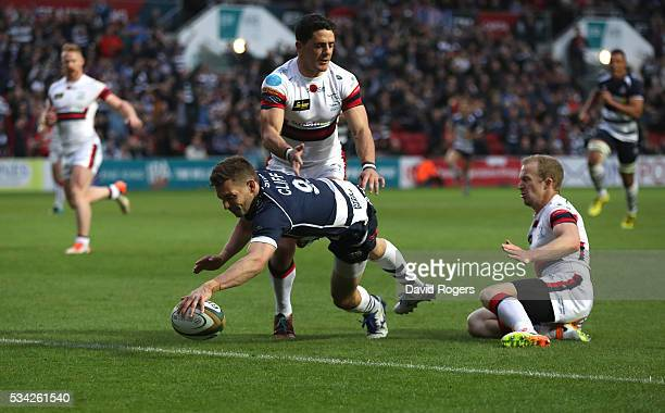 Will Cliff of Bristol dives over for a try during the Greene King IPA Championship Play Off Final second leg match between Bristol and Doncaster...