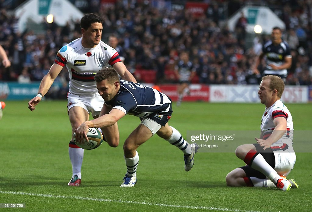 Will Cliff of Bristol dives over for a try during the Greene King IPA Championship Play Off Final second leg match between Bristol and Doncaster Knights at Ashton Gate on May 25, 2016 in Bristol, England.