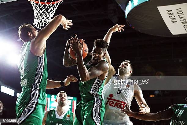 Will Clyburn #12 of Darussafaka Dogus Istanbul in action during the 2016/2017 Turkish Airlines EuroLeague Regular Season Round 12 game between...