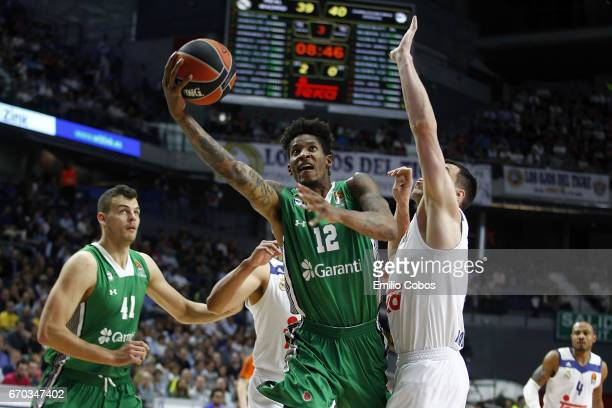 Will Clyburn #12 of Darussafaka Dogus Istanbul in action during the 2016/2017 Turkish Airlines EuroLeague Playoffs leg 1 game between Real Madrid v...