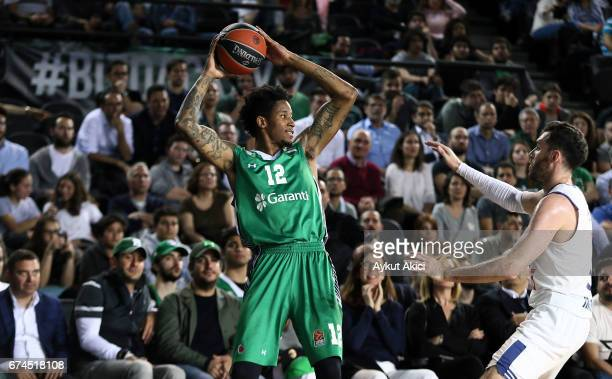 Will Clyburn #12 of Darussafaka Dogus Istanbul in action during the 2016/2017 Turkish Airlines EuroLeague Playoffs leg 4 game between Darussafaka...