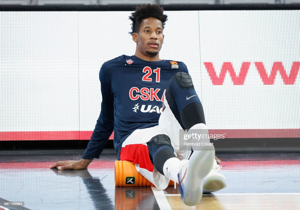 Will Clyburn, #21 of CSKA Moscow warming up before the 2017/2018 Turkish Airlines EuroLeague Regular Season Round 11 game between Brose Bamberg and CSKA Moscow at Brose Arena on December 7, 2017 in Bamberg, Germany.