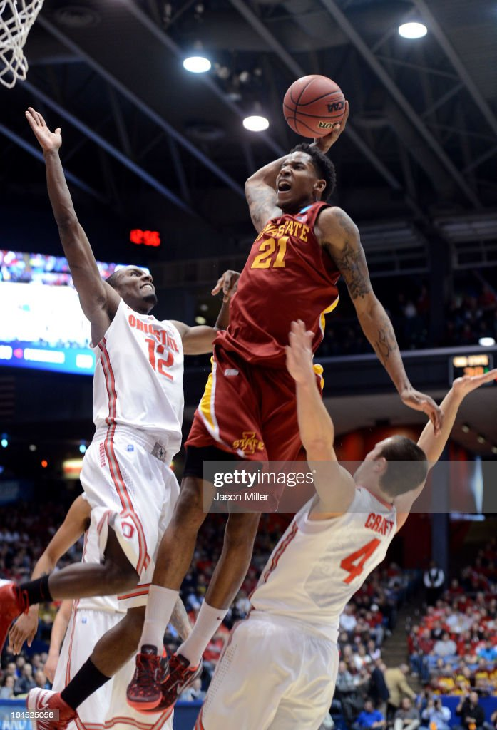Will Clyburn #21 of the Iowa State Cyclones drives to the basket against Sam Thompson #12 and Aaron Craft #4 of the Ohio State Buckeyes in the first half during the third round of the 2013 NCAA Men's Basketball Tournament at UD Arena on March 24, 2013 in Dayton, Ohio.